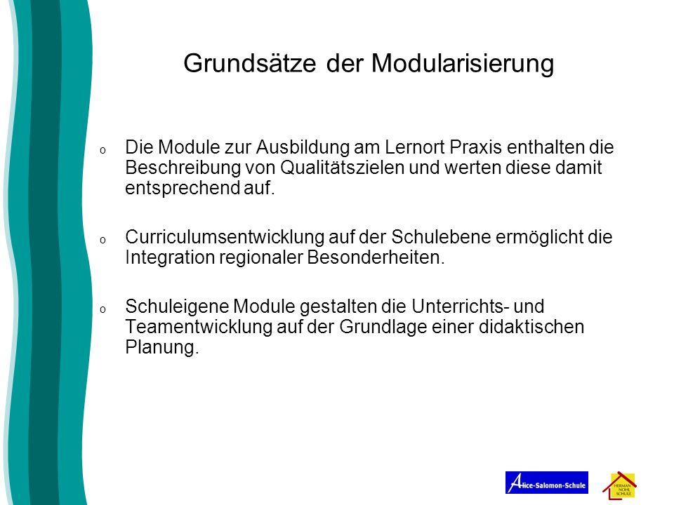 o Die Module zur Ausbildung am Lernort Praxis enthalten die Beschreibung von Qualitätszielen und werten diese damit entsprechend auf. o Curriculumsent