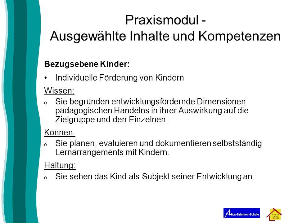 Praxismodul - Ausgewählte Inhalte und Kompetenzen Bezugsebene Kinder: Individuelle Förderung von Kindern Wissen: o Sie begründen entwicklungsfördernde