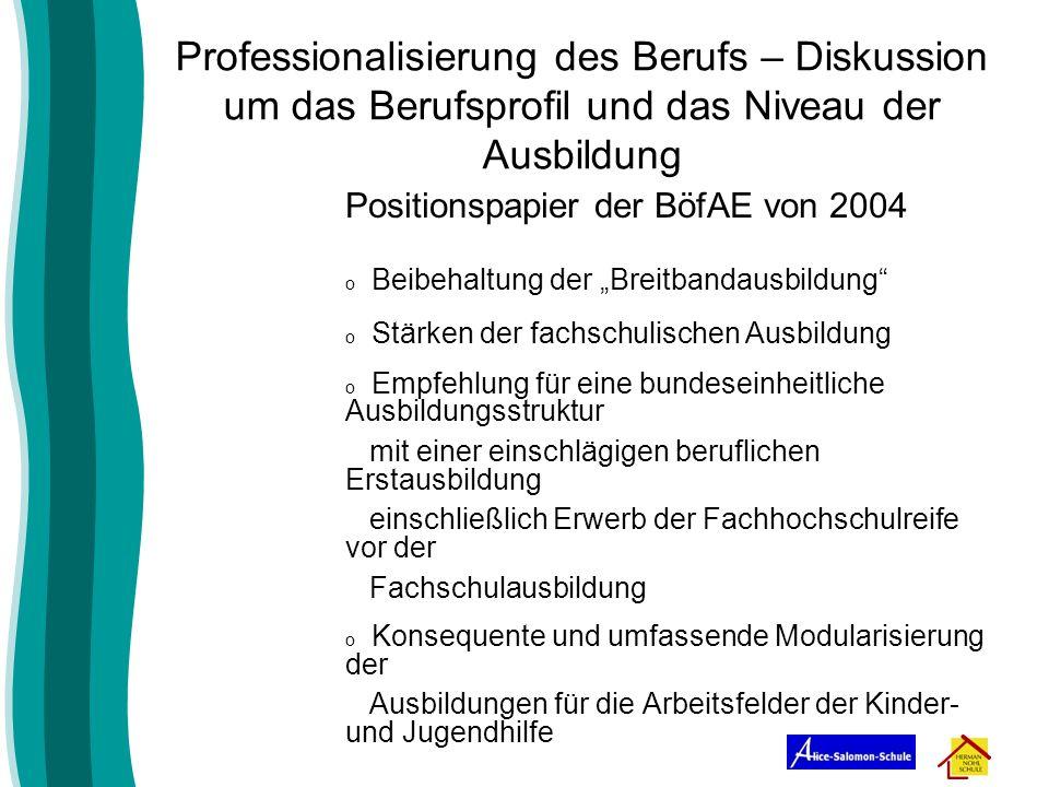 Professionalisierung des Berufs – Diskussion um das Berufsprofil und das Niveau der Ausbildung Positionspapier der BöfAE von 2004 o Beibehaltung der B