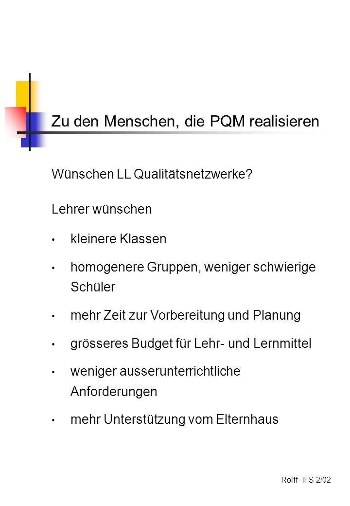 Zu den Menschen, die PQM realisieren Wünschen LL Qualitätsnetzwerke.