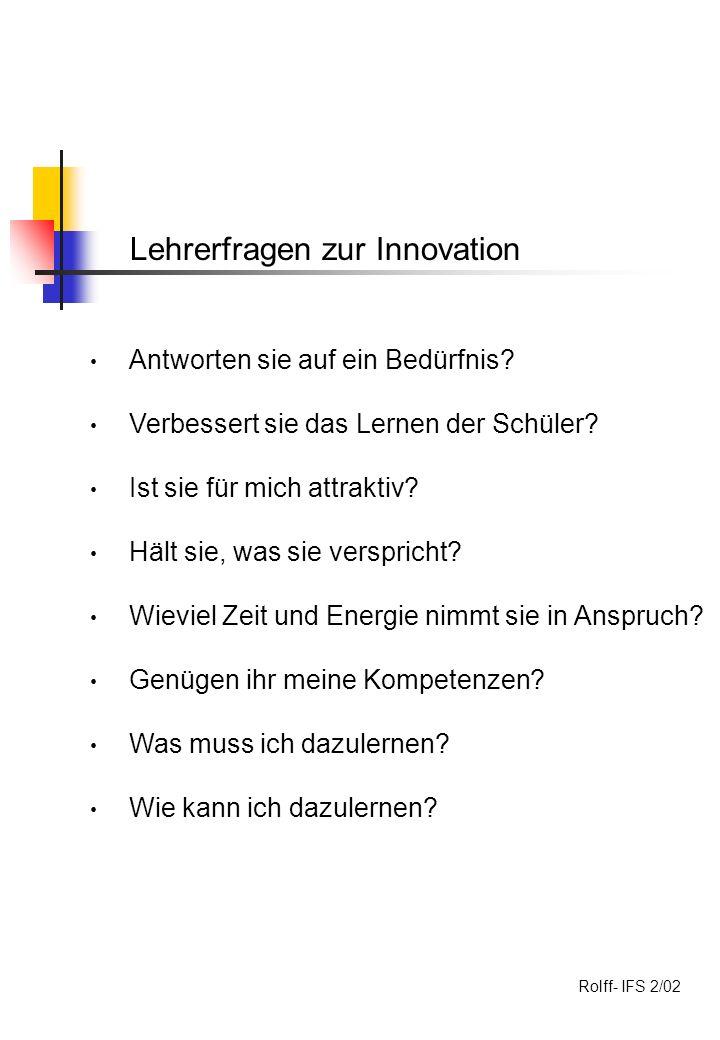 Lehrerfragen zur Innovation Antworten sie auf ein Bedürfnis.