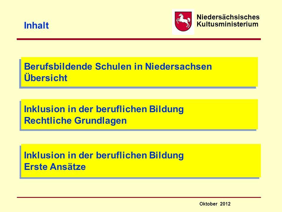 Niedersächsisches Kultusministerium Inklusion in der beruflichen Bildung Aktueller Stand der Umsetzung Oktober 2012