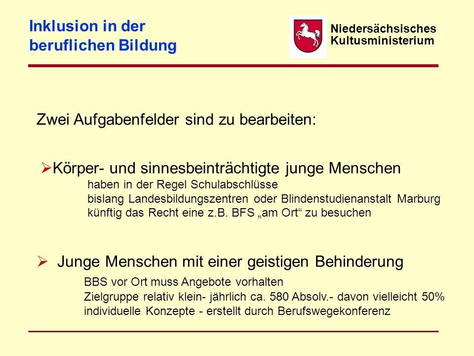 Niedersächsisches Kultusministerium Inklusion in der beruflichen Bildung Was ist zu tun? Oktober 2012