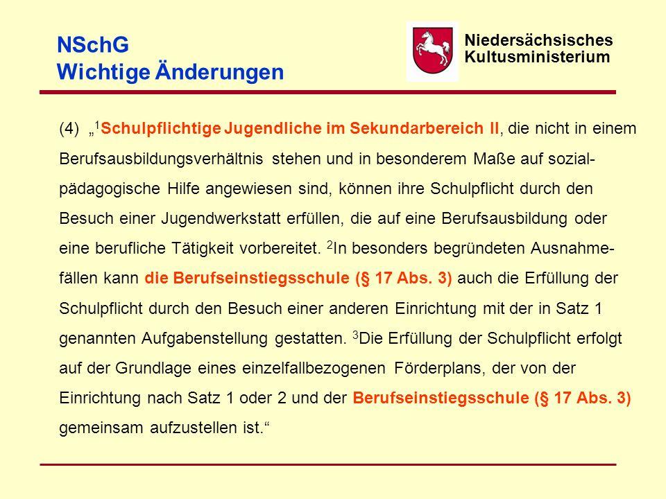 Niedersächsisches Kultusministerium NSchG Wichtige Änderungen Abs. 4 Neue Formulierungen – inhaltlich unverändert. Abs. 5 Gestrichen !! ?? Geändert §