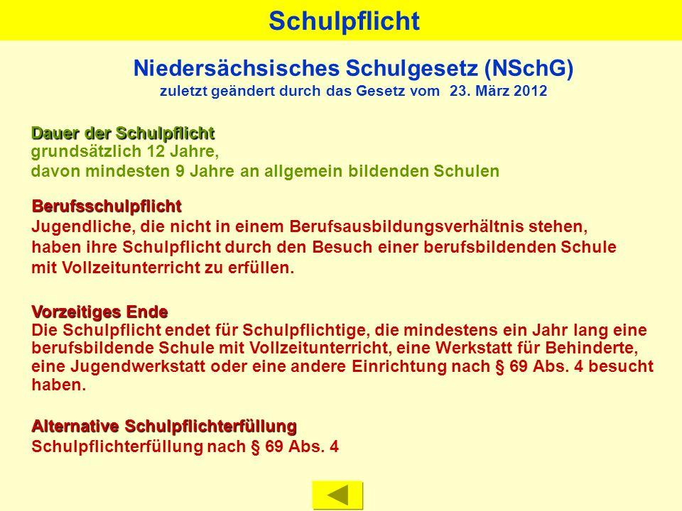 Niedersächsisches Kultusministerium Berufsbildende Schulen in Niedersachsen Übersicht Oktober 2012