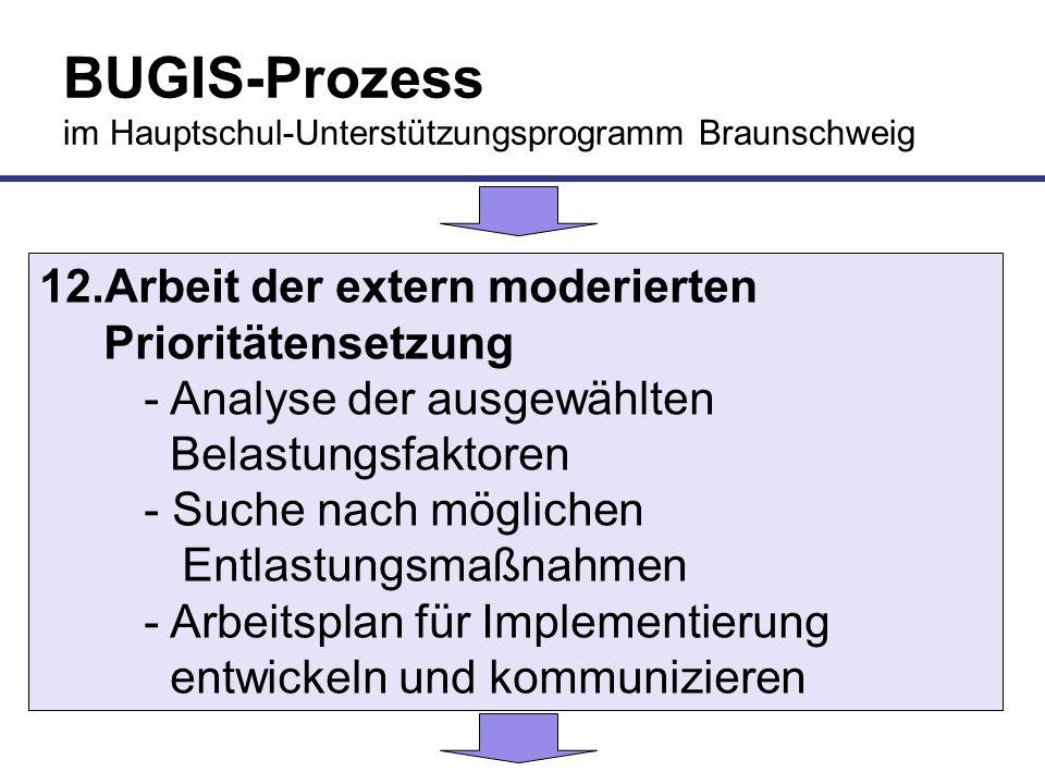 BUGIS-Prozess im Hauptschul-Unterstützungsprogramm Braunschweig 12.Arbeit der extern moderierten Prioritätensetzung - Analyse der ausgewählten Belastu