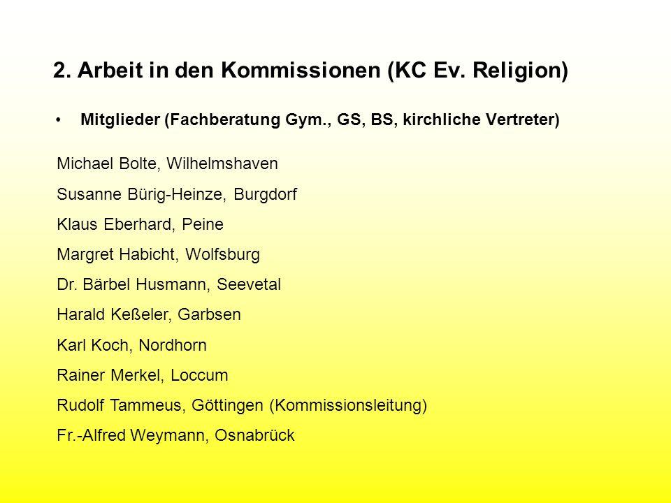 2. Arbeit in den Kommissionen (KC Ev. Religion) Mitglieder (Fachberatung Gym., GS, BS, kirchliche Vertreter) Michael Bolte, Wilhelmshaven Susanne Büri