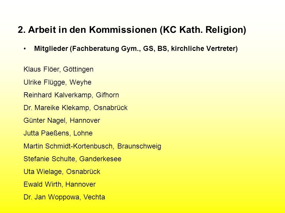 2. Arbeit in den Kommissionen (KC Kath. Religion) Mitglieder (Fachberatung Gym., GS, BS, kirchliche Vertreter) Klaus Flöer, Göttingen Ulrike Flügge, W