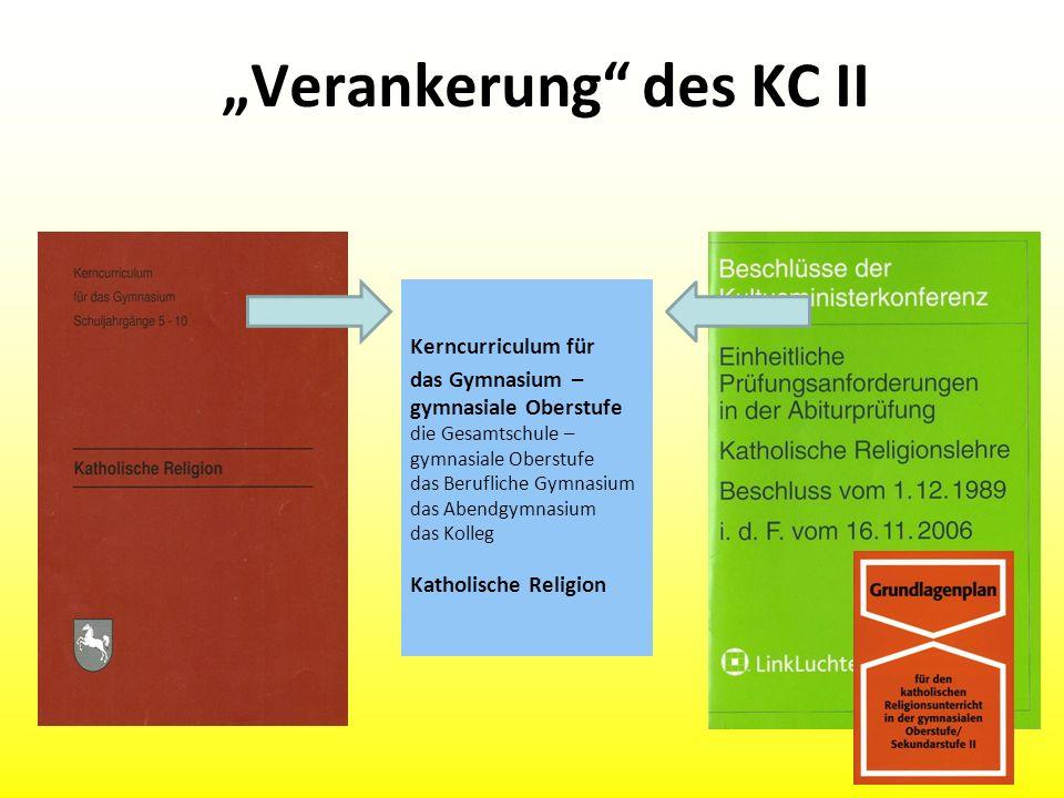 Verankerung des KC II Kerncurriculum für das Gymnasium – gymnasiale Oberstufe die Gesamtschule – gymnasiale Oberstufe das Berufliche Gymnasium das Abe