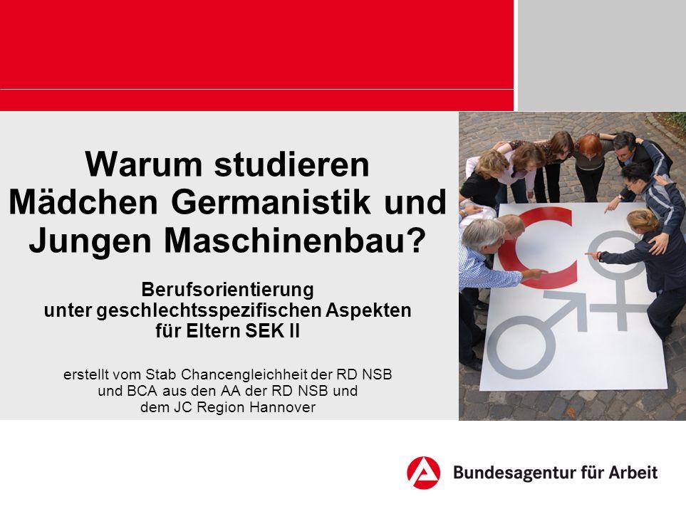 Warum studieren Mädchen Germanistik und Jungen Maschinenbau? Berufsorientierung unter geschlechtsspezifischen Aspekten für Eltern SEK II erstellt vom