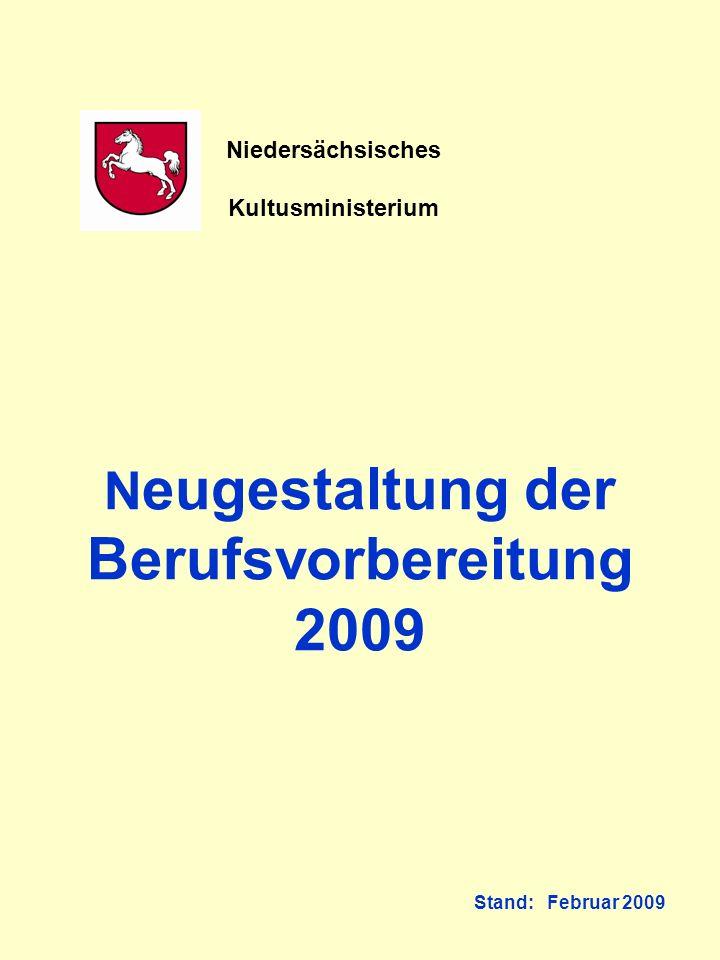 N eugestaltung der Berufsvorbereitung 2009 Stand: Februar 2009 Niedersächsisches Kultusministerium