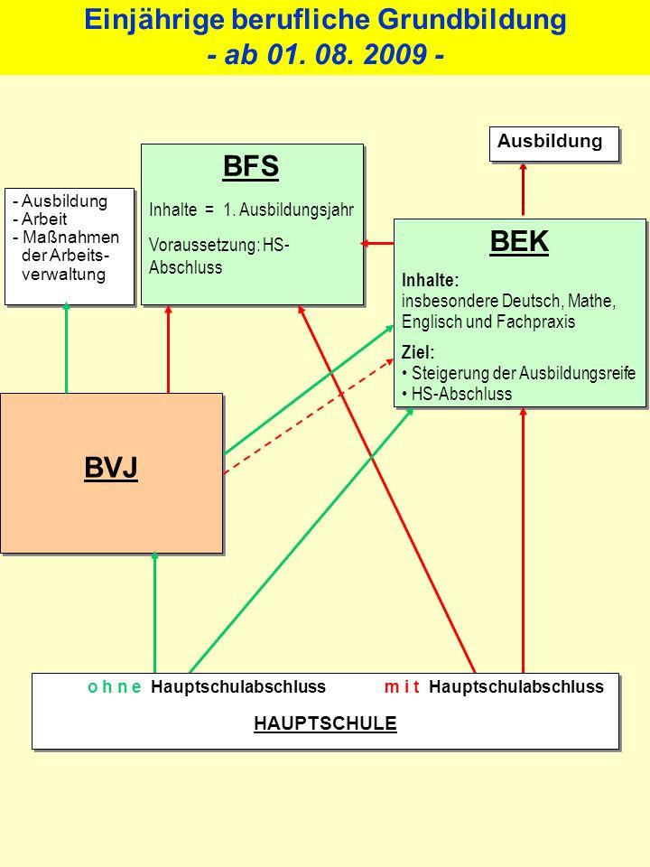 Änderungen BVJ A Umgestaltung der Stundentafel zugunsten eines vermehrten Deutschunterrichts wird von der Schule eigenverantwortlich vorgenommen.