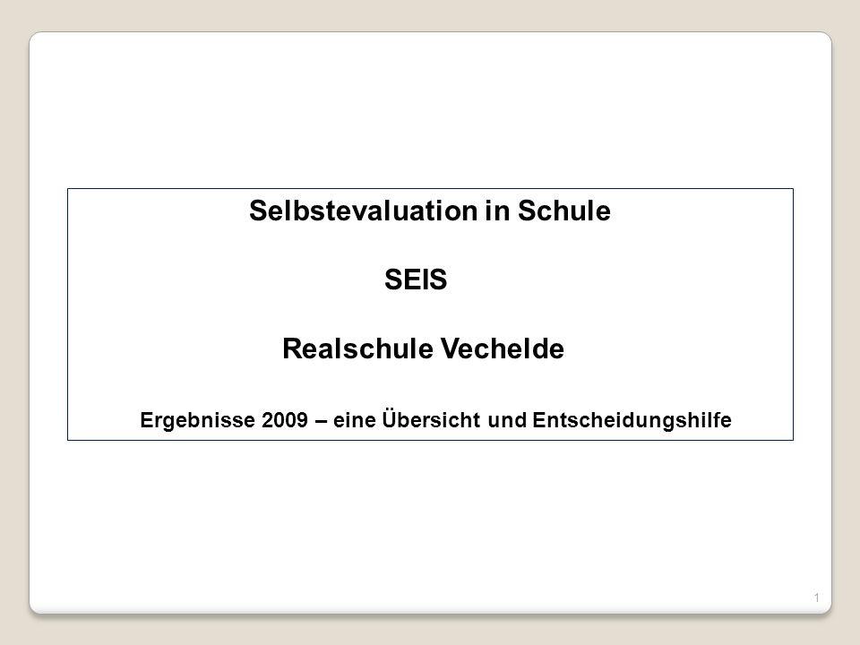 Selbstevaluation in Schule SEIS Realschule Vechelde Ergebnisse 2009 – eine Übersicht und Entscheidungshilfe 1