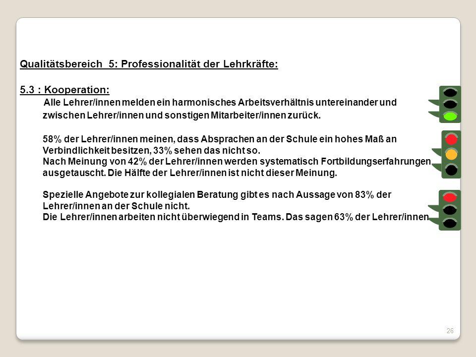 Qualitätsbereich 5: Professionalität der Lehrkräfte: 5.3 : Kooperation: Alle Lehrer/innen melden ein harmonisches Arbeitsverhältnis untereinander und
