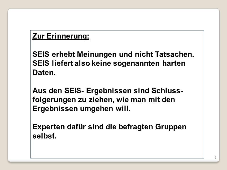 Zur Erinnerung: SEIS erhebt Meinungen und nicht Tatsachen. SEIS liefert also keine sogenannten harten Daten. Aus den SEIS- Ergebnissen sind Schluss- f