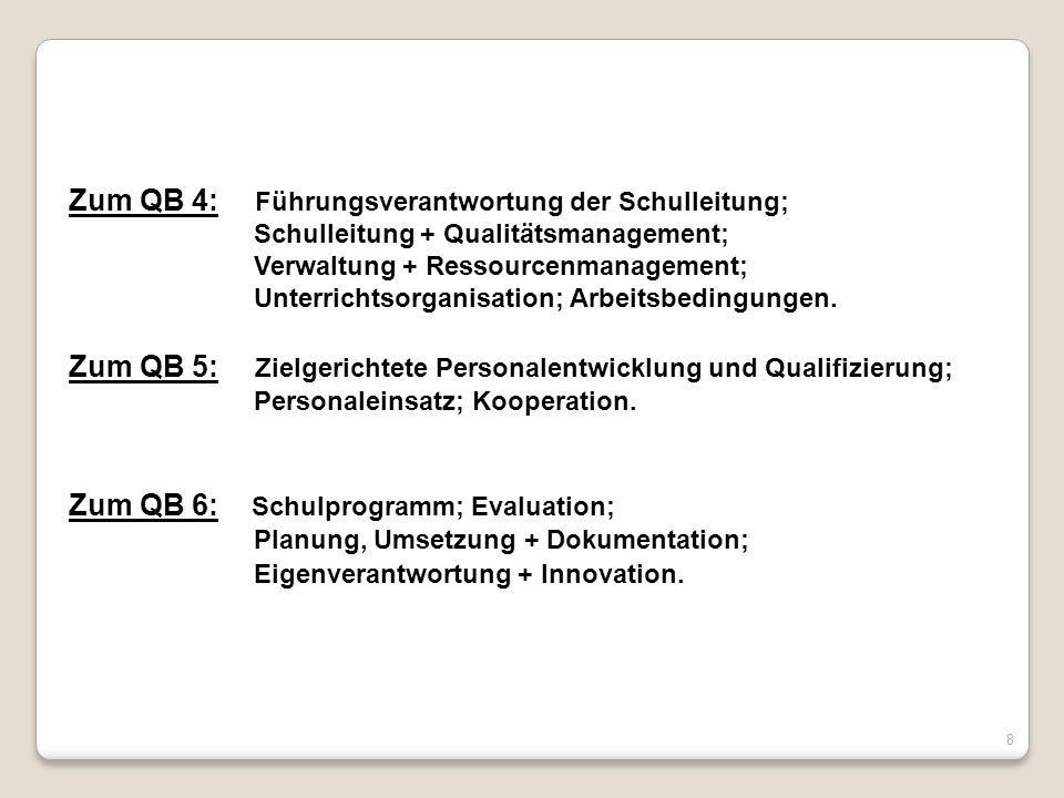 8 Zum QB 4: Führungsverantwortung der Schulleitung; Schulleitung + Qualitätsmanagement; Verwaltung + Ressourcenmanagement; Unterrichtsorganisation; Ar