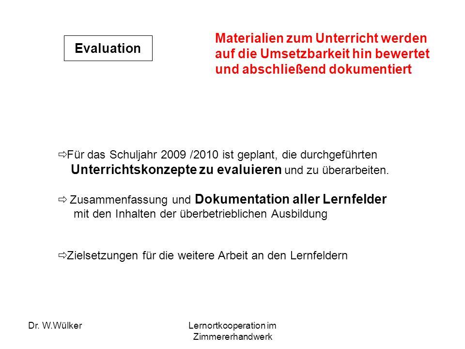 Dr. W.WülkerLernortkooperation im Zimmererhandwerk Evaluation Für das Schuljahr 2009 /2010 ist geplant, die durchgeführten Unterrichtskonzepte zu eval
