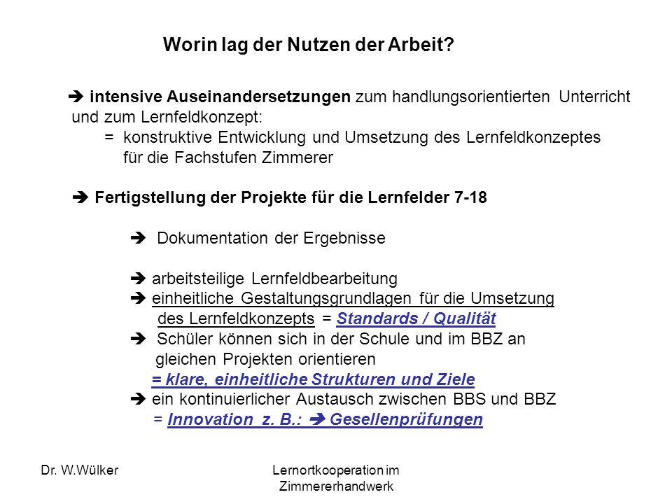 Dr. W.WülkerLernortkooperation im Zimmererhandwerk intensive Auseinandersetzungen zum handlungsorientierten Unterricht und zum Lernfeldkonzept: = kons