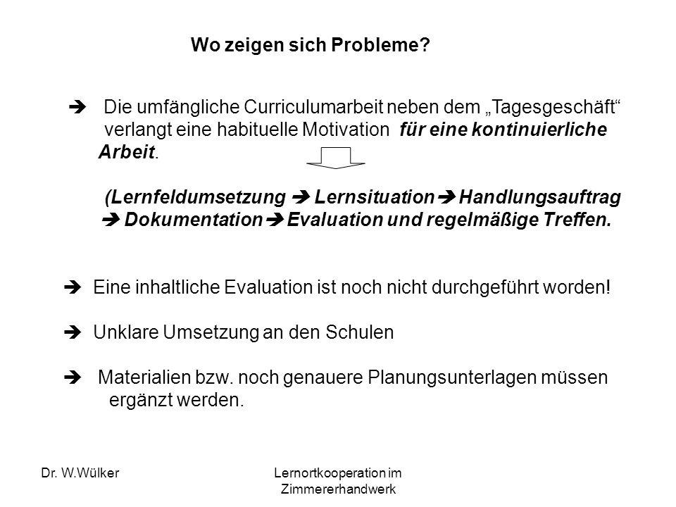 Dr. W.WülkerLernortkooperation im Zimmererhandwerk Wo zeigen sich Probleme? Die umfängliche Curriculumarbeit neben dem Tagesgeschäft verlangt eine hab