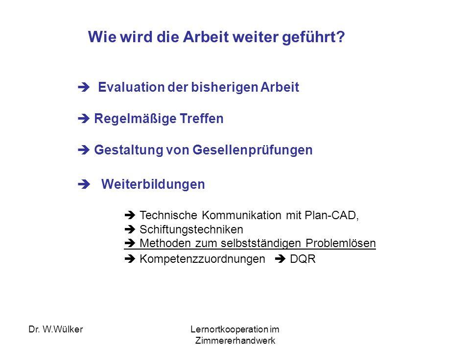Dr. W.WülkerLernortkooperation im Zimmererhandwerk Wie wird die Arbeit weiter geführt? Evaluation der bisherigen Arbeit Regelmäßige Treffen Gestaltung