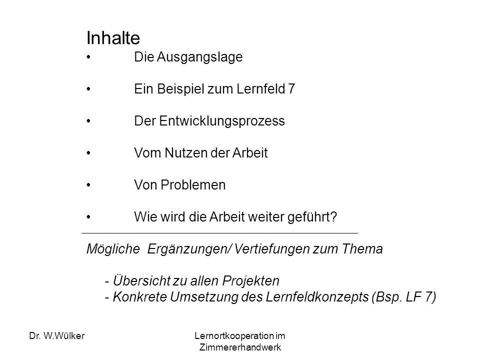Dr. W.WülkerLernortkooperation im Zimmererhandwerk Inhalte Die Ausgangslage Ein Beispiel zum Lernfeld 7 Der Entwicklungsprozess Vom Nutzen der Arbeit