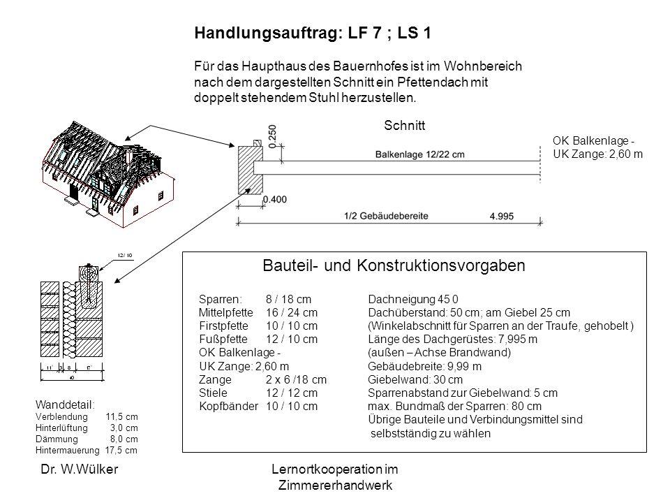 Dr. W.WülkerLernortkooperation im Zimmererhandwerk Handlungsauftrag: LF 7 ; LS 1 Für das Haupthaus des Bauernhofes ist im Wohnbereich nach dem dargest