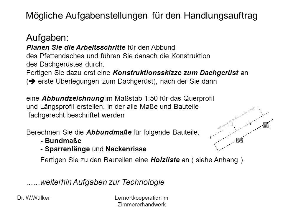 Dr. W.WülkerLernortkooperation im Zimmererhandwerk Mögliche Aufgabenstellungen für den Handlungsauftrag Aufgaben: Planen Sie die Arbeitsschritte für d