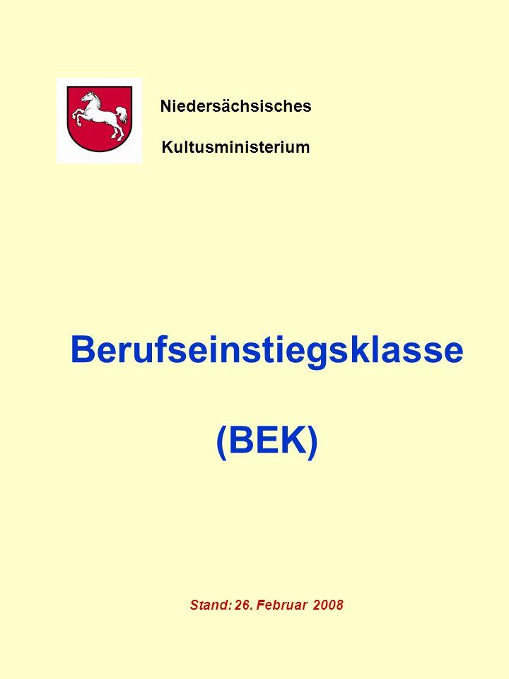 Berufseinstiegsklasse (BEK) Stand: 26. Februar 2008 Niedersächsisches Kultusministerium
