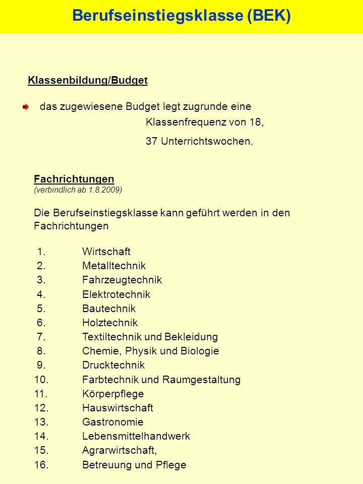 Klassenbildung/Budget Berufseinstiegsklasse (BEK) das zugewiesene Budget legt zugrunde eine Klassenfrequenz von 18, 37 Unterrichtswochen.