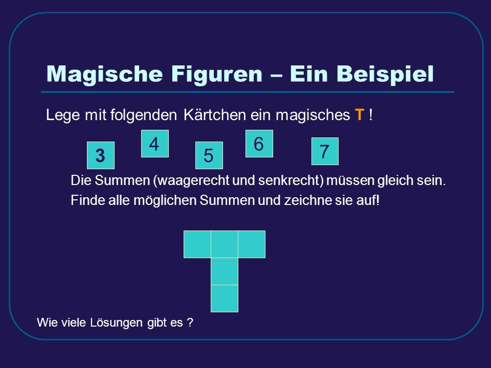 Magische Figuren – Ein Beispiel Lege mit folgenden Kärtchen ein magisches T ! Die Summen (waagerecht und senkrecht) müssen gleich sein. Finde alle mög
