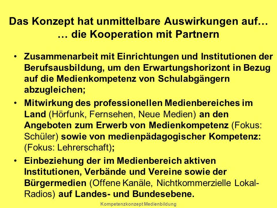 Kompetenzkonzept Medienbildung Zusammenarbeit mit Einrichtungen und Institutionen der Berufsausbildung, um den Erwartungshorizont in Bezug auf die Med