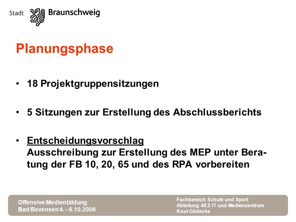 Offensive Medienbildung Bad Bevensen 4. - 6.10.2006 Fachbereich Schule und Sport Abteilung 40.2 IT und Medienzentrum Knut Gödecke Planungsphase 18 Pro