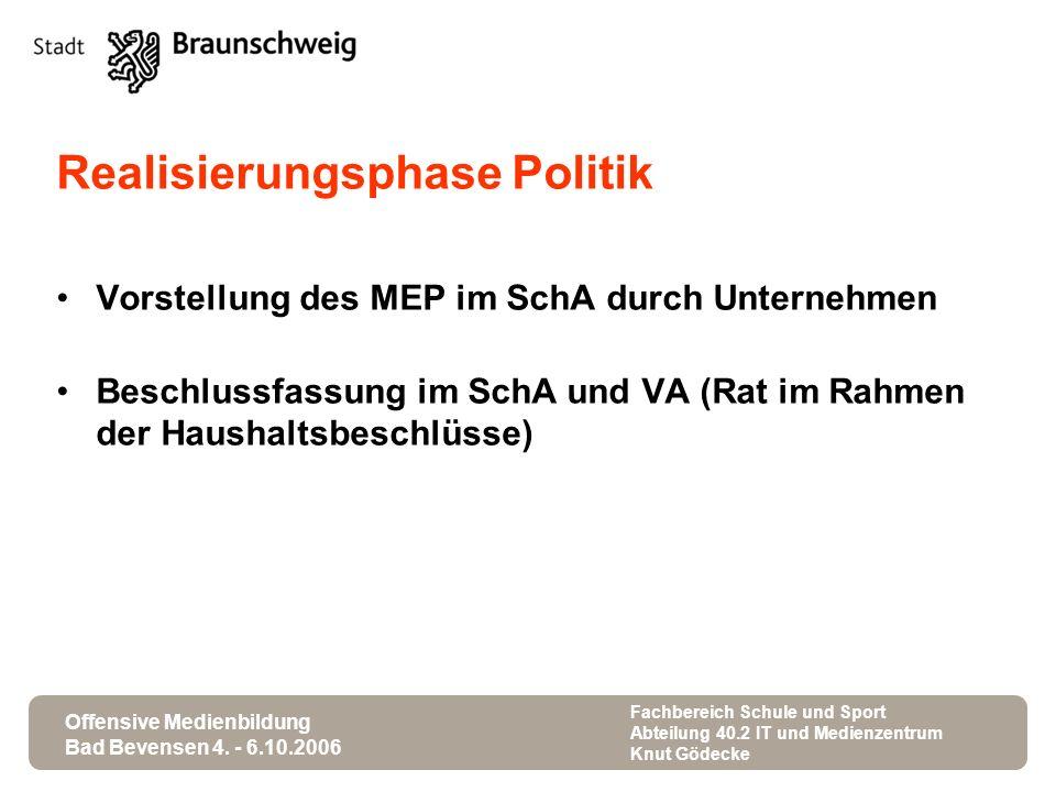 Offensive Medienbildung Bad Bevensen 4. - 6.10.2006 Fachbereich Schule und Sport Abteilung 40.2 IT und Medienzentrum Knut Gödecke Realisierungsphase P