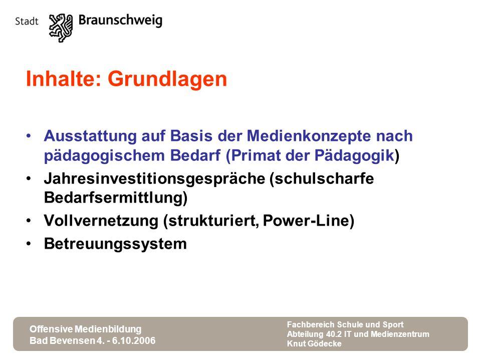Offensive Medienbildung Bad Bevensen 4. - 6.10.2006 Fachbereich Schule und Sport Abteilung 40.2 IT und Medienzentrum Knut Gödecke Inhalte: Grundlagen