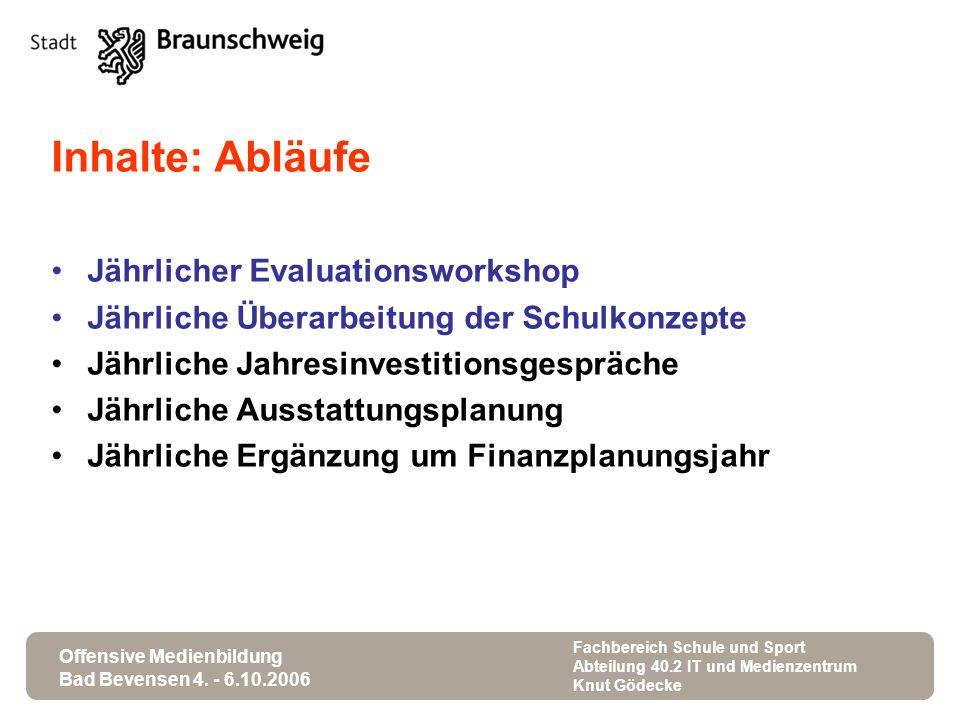Offensive Medienbildung Bad Bevensen 4. - 6.10.2006 Fachbereich Schule und Sport Abteilung 40.2 IT und Medienzentrum Knut Gödecke Inhalte: Abläufe Jäh