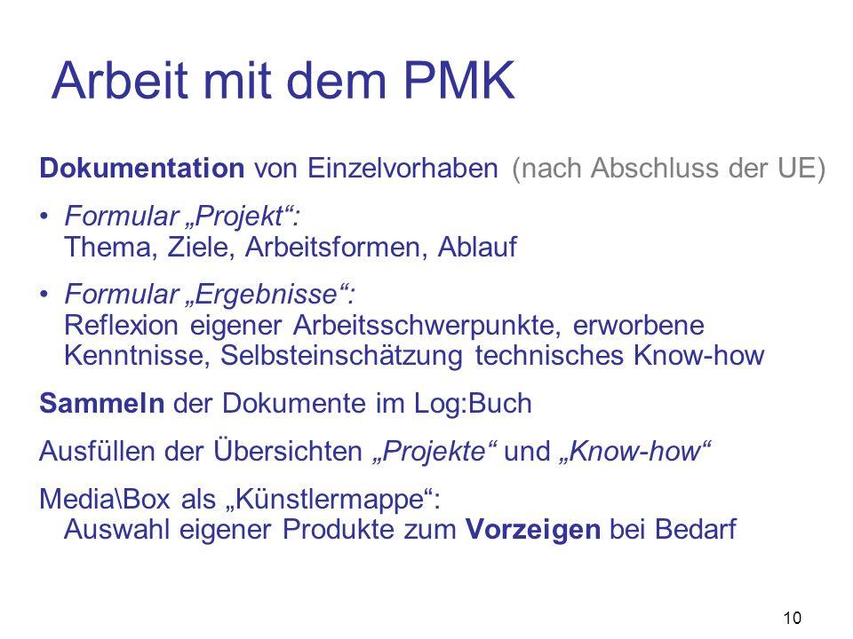10 Arbeit mit dem PMK Dokumentation von Einzelvorhaben (nach Abschluss der UE) Formular Projekt: Thema, Ziele, Arbeitsformen, Ablauf Formular Ergebnis