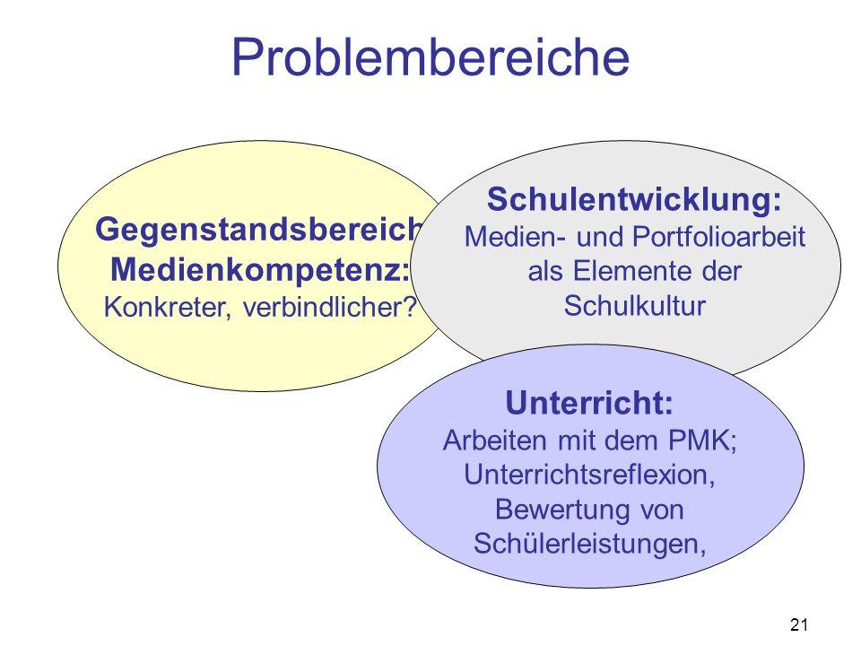 21 Problembereiche Gegenstandsbereich Medienkompetenz: Konkreter, verbindlicher.