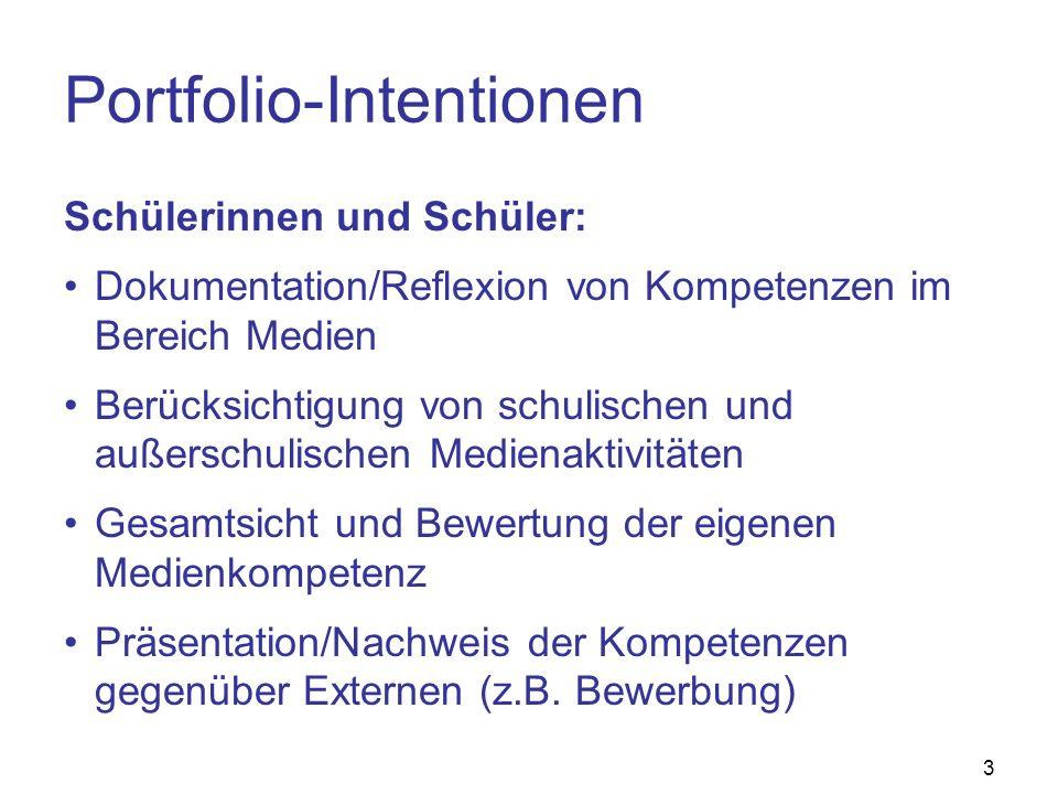 3 Portfolio-Intentionen Schülerinnen und Schüler: Dokumentation/Reflexion von Kompetenzen im Bereich Medien Berücksichtigung von schulischen und außer