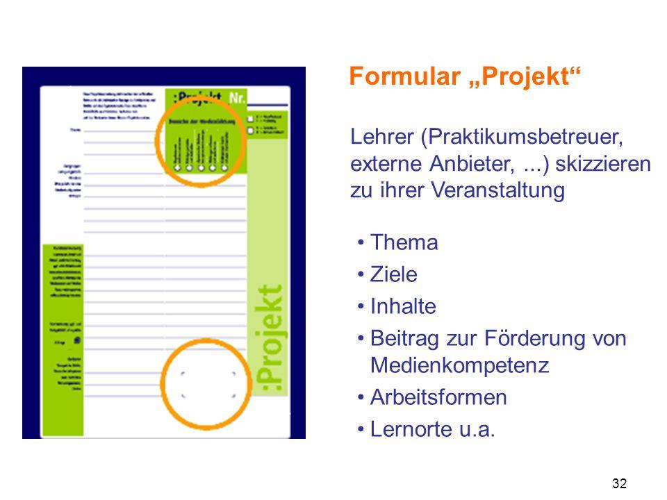 32 Formular Projekt Thema Ziele Inhalte Beitrag zur Förderung von Medienkompetenz Arbeitsformen Lernorte u.a. Lehrer (Praktikumsbetreuer, externe Anbi
