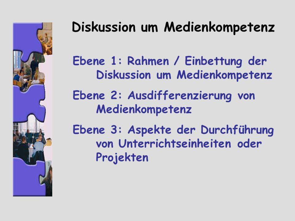 Diskussion um Medienkompetenz Ebene 1: Rahmen / Einbettung der Diskussion um Medienkompetenz Ebene 2: Ausdifferenzierung von Medienkompetenz Ebene 3: