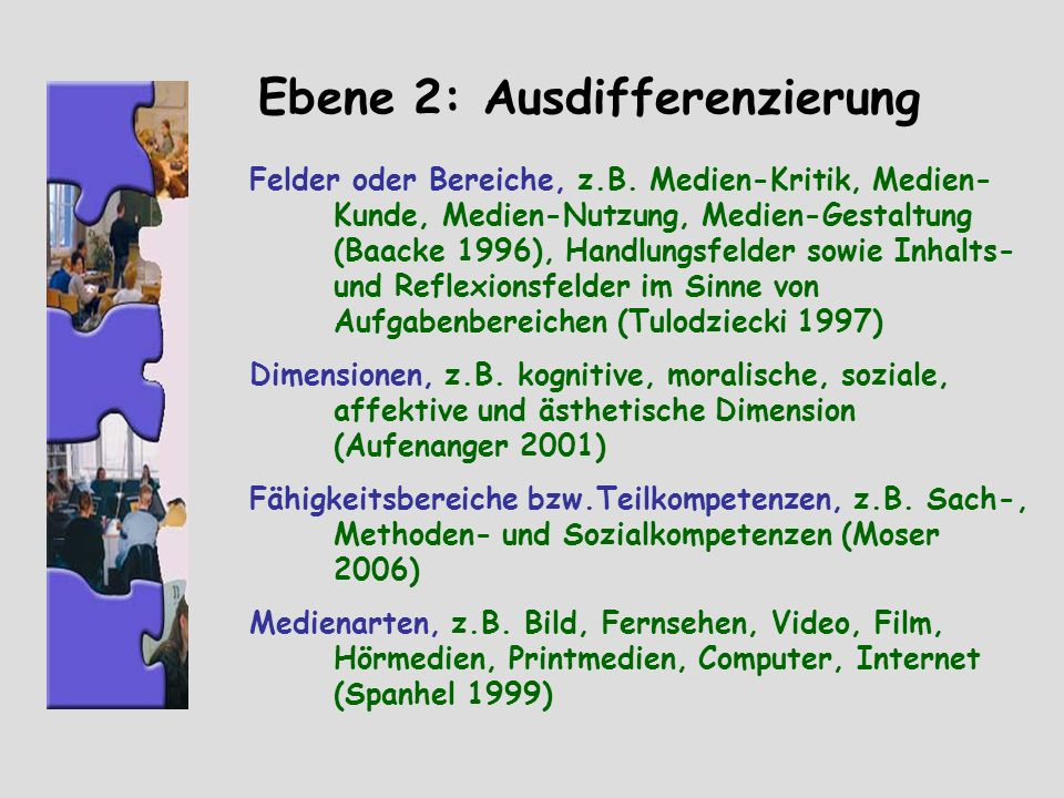 Ebene 2: Ausdifferenzierung Felder oder Bereiche, z.B. Medien-Kritik, Medien- Kunde, Medien-Nutzung, Medien-Gestaltung (Baacke 1996), Handlungsfelder