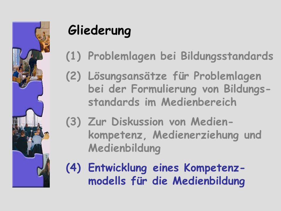 Gliederung (1)Problemlagen bei Bildungsstandards (2)Lösungsansätze für Problemlagen bei der Formulierung von Bildungs- standards im Medienbereich (3)Z