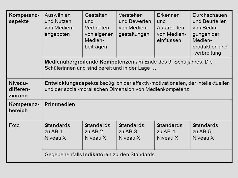 Kompetenz- aspekte Auswählen und Nutzen von Medien- angeboten Gestalten und Verbreiten von eigenen Medien- beiträgen Verstehen und Bewerten von Medien