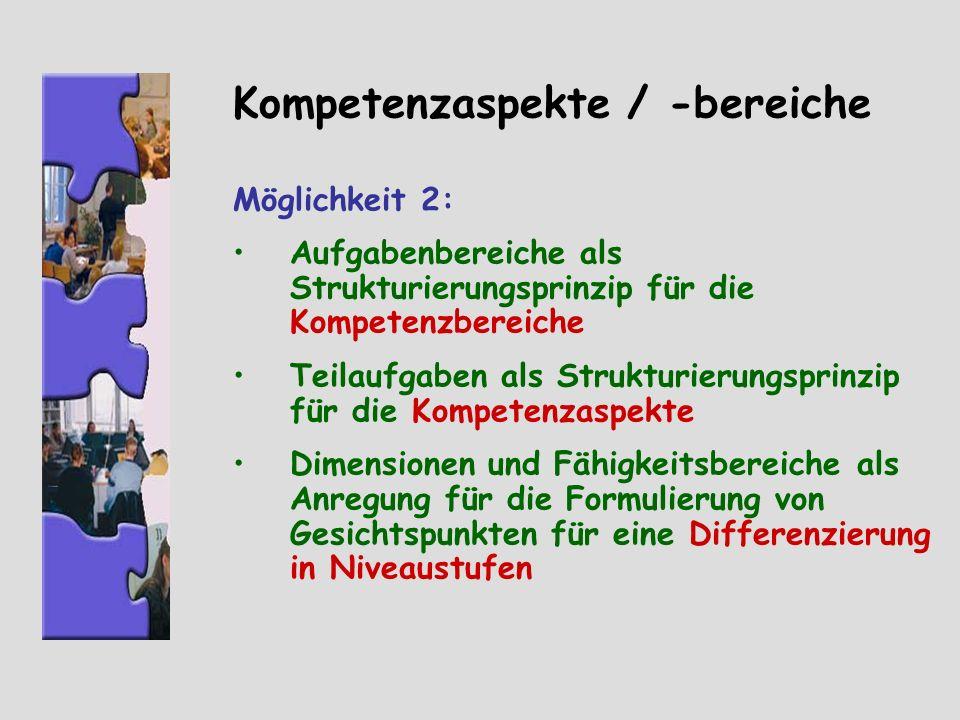 Kompetenzaspekte / -bereiche Möglichkeit 2: Aufgabenbereiche als Strukturierungsprinzip für die Kompetenzbereiche Teilaufgaben als Strukturierungsprin