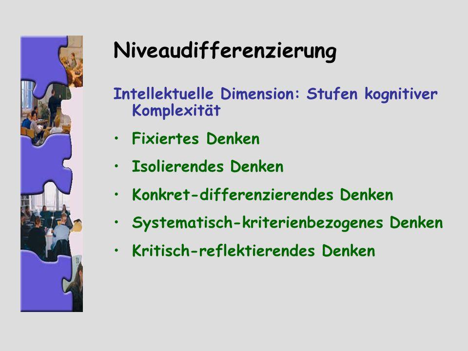 Niveaudifferenzierung Intellektuelle Dimension: Stufen kognitiver Komplexität Fixiertes Denken Isolierendes Denken Konkret-differenzierendes Denken Sy
