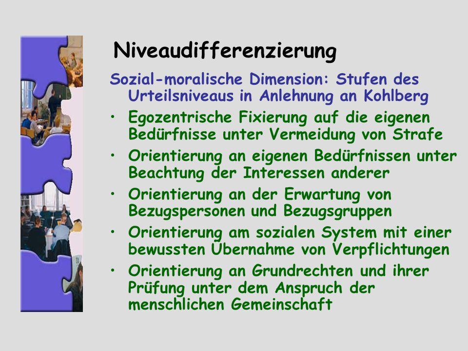 Niveaudifferenzierung Sozial-moralische Dimension: Stufen des Urteilsniveaus in Anlehnung an Kohlberg Egozentrische Fixierung auf die eigenen Bedürfni