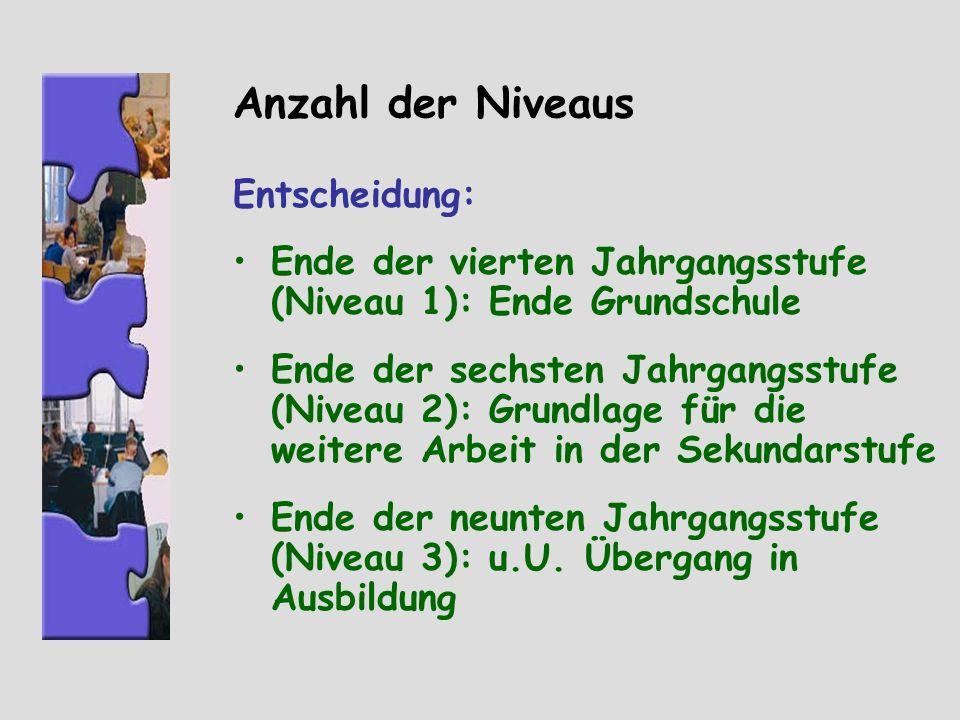 Anzahl der Niveaus Entscheidung: Ende der vierten Jahrgangsstufe (Niveau 1): Ende Grundschule Ende der sechsten Jahrgangsstufe (Niveau 2): Grundlage f