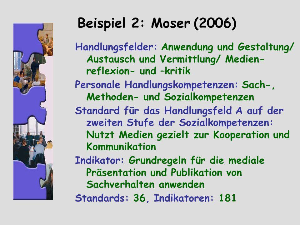 Beispiel 2: Moser (2006) Handlungsfelder: Anwendung und Gestaltung/ Austausch und Vermittlung/ Medien- reflexion- und –kritik Personale Handlungskompe