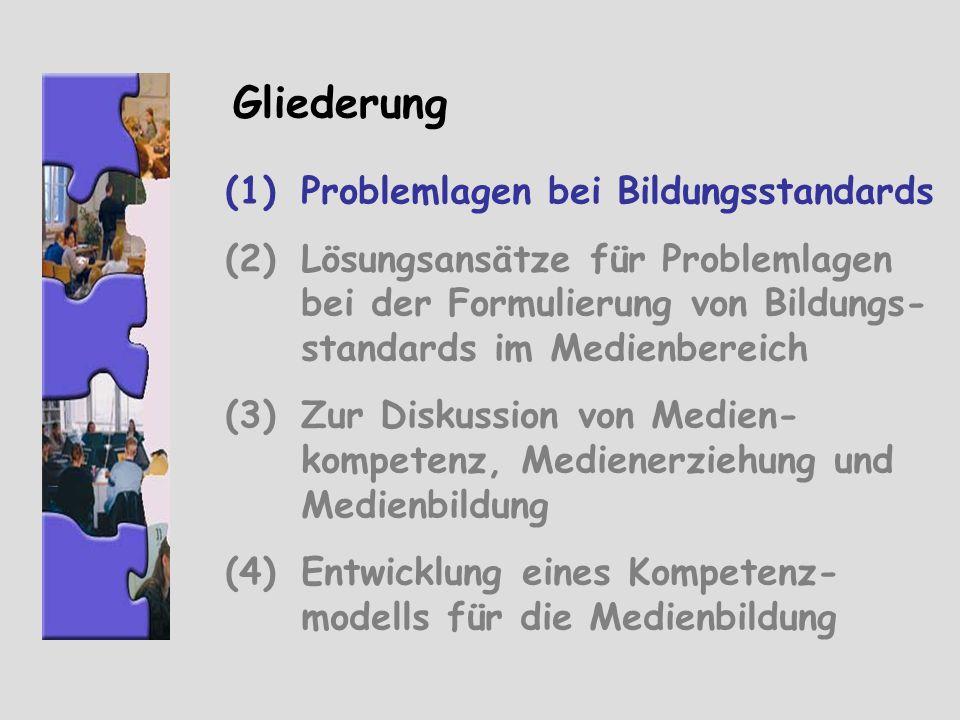 Problemlagen Vorgegebene Standards versus Schülerbeteiligung und Prozess- orientierung Prüfbarkeit versus Orientierung an übergreifenden Leitideen Aktuelle Anforderungen versus Zukunftsorientierung Einheitliche Anforderungen versus individuelle Kompetenzentwicklung als biografischer Prozess