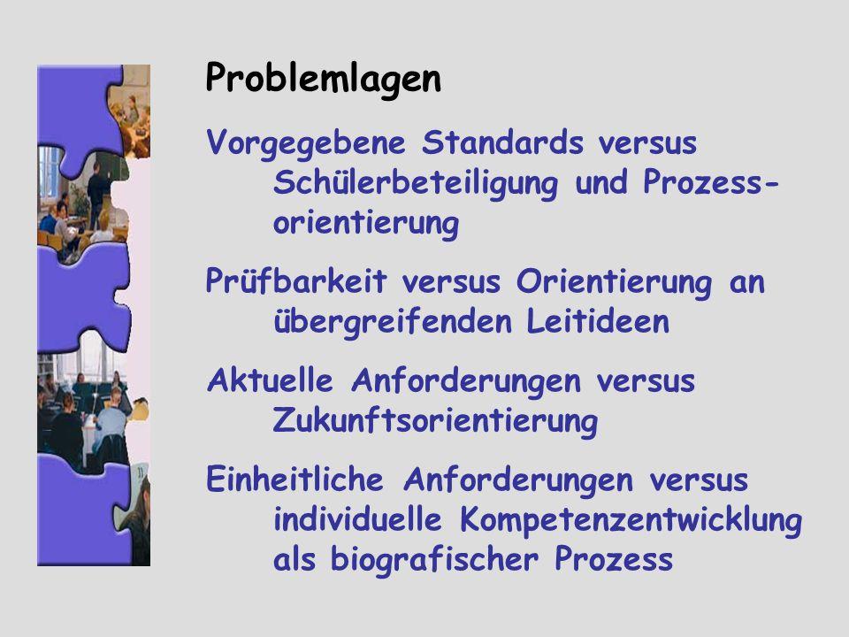 Problemlagen Vorgegebene Standards versus Schülerbeteiligung und Prozess- orientierung Prüfbarkeit versus Orientierung an übergreifenden Leitideen Akt